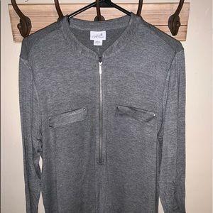 NWT Soft Grey Tshirt with Zipper